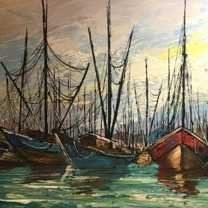 Vintage Sailboat Painting 53×29 large